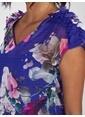 Vekem-Limited Edition V Yaka Belden Büzgülü Çiçek Desenli Şifon Elbise Saks